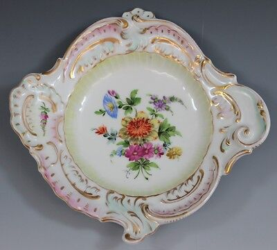 CARL THIEME DRESDEN PORCELAIN HAND PAINTED FLOWERS TRINKET PIN DISH BOWL