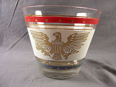 Vintage Glass Ice Bucket Red White Blue American Eagle Colonial Patriotic