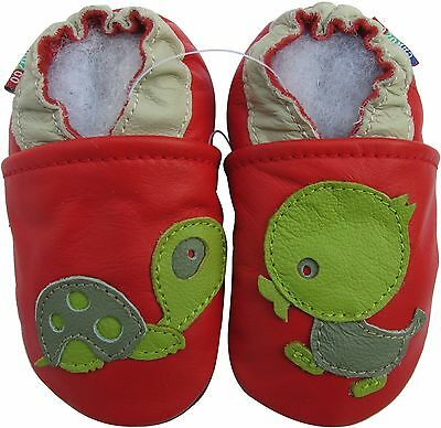 carozoo turtle duck red 2-3y soft sole leather toddler shoes slippers