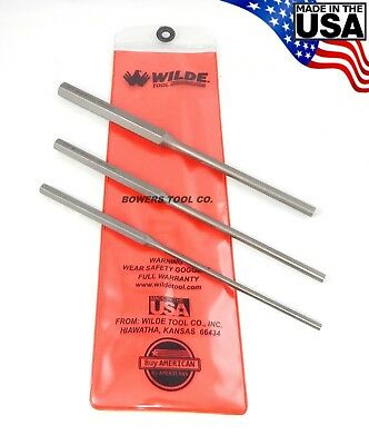 Wilde Tool 4pc Long Pin Punch Set MADE IN USA Professional 3/16 1/4 5/16 3/8 Cut