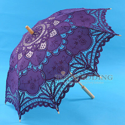 "30"" New Purple Battenburg Lace Cotton Wedding Umbrella Sun Parasol Bridal Shower"