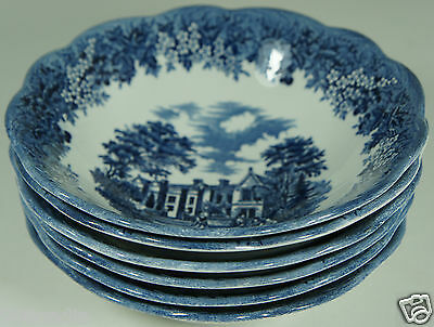 ANTIQUE STYLE ROMANTIC ENGLAND BLUE/WHITE MEAKIN SET 6 BOWLS CHEQUERS IRONSTONE