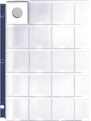 """20 Pocket Coin Sheet - Album Page Fits 2"""" X 2"""" Holders - 3 Rings With Blue Band"""