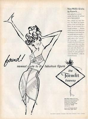 "1959 Formfit Womens Skippies Girdle Road Sign ""...Route to a Fabulous"" PRINT AD"