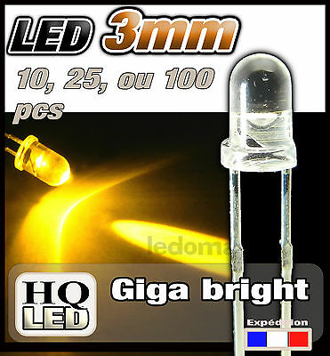 203HQL# LED 3mm ronde jaune dispo 10, 25 ou 100 pcs - LED yellow 3mm gyga bright