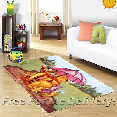 KIDS EXPRESS WINNIE POOH IN THE RAIN FLOOR RUG (XS) 100x150cm **FREE DELIVERY**