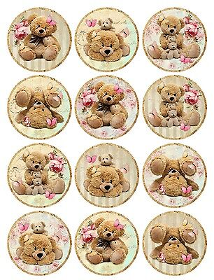 Vintage inspired teddy bear round stickers assorted sizes roses flowers