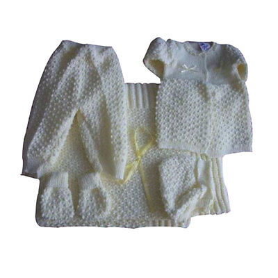 6 pc Crochet Baby Set popcorn style Blanket Pants Sweater Hat Booties - yellow
