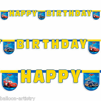 Disney Yellow Blue CARS Happy Birthday Party Cutout Letter Banner Decoration