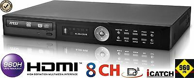 8 CH Real time Full D1 H.264 960FPS CCTV Security Network DVR HDMI Audio 2TB