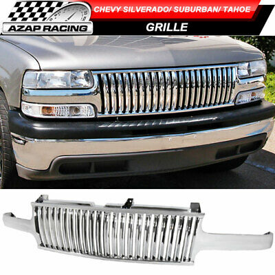 Vertical Style Chrome Grill Grille Fits 99-02 Silverado 00-06 Suburban Tahoe