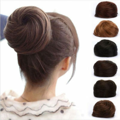 Lady Clip In/On Pony Tail Hair Extension Scrunchie Bun look Hairpiece 6 Color