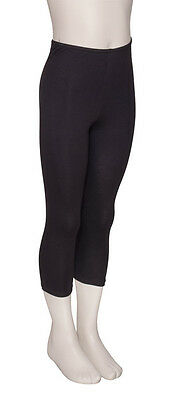 Girls Black Cotton Lycra Dance Fitness Capris 3/4 Leggings KDTC03 By Katz