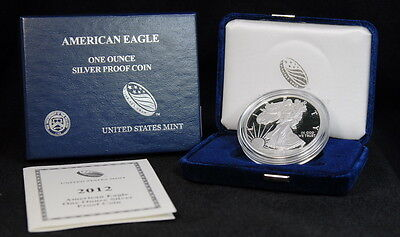 2012 American Silver Eagle Proof $1 Dollar Coin W/Box