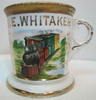 Antique Occupational TRAIN CONDUCTOR Shaving Mug -J E Whitaker Aug Kern St Louis