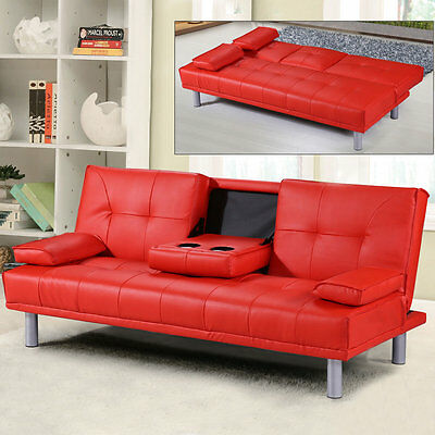 Modern Small 2-3 Seater Faux Leather Sofa Bed & Bluetooth Speaker Option