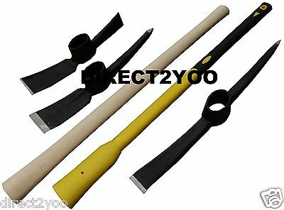 5lb Grubbing Mattock 7lb Pick Axe Steel Head Hardwood Fibreglass Handle shaft
