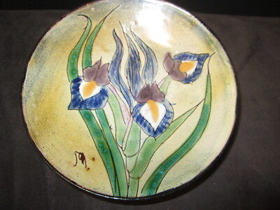 BLUE IRIS SIGNED ART POTTERY BOWL ENGLAND EFFECT SIMILAR TO ENAMEL ON COPPER