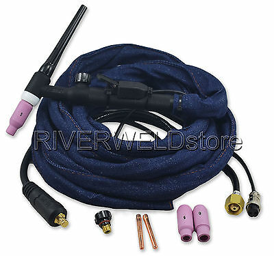 WP 17 WP-17FV 150A TIG Welding Torch Complete With Flexible Valve Torch Head 4M