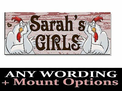 Personalised NAME SIGN Plaque chicken hen coop run egg bantam house garden gift