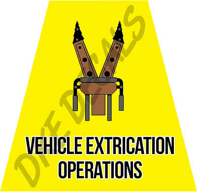Vehicle Extrication Operations Helmet Tet Tetrahedrons Sticker Yellow Reflective