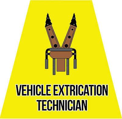Vehicle Extrication Tech Helmet Tets Tetrahedrons Sticker Yellow Reflective