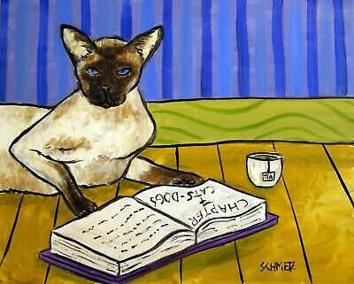 SIAMESE READING picture  CAT ANIMAL art print 11x14