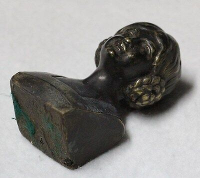Very interesting old small bronze Victorian lady hairstyle paperwight figure