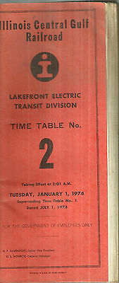 Illinois Central Gulf Railroad  Employee Timetable 1974 Chicago