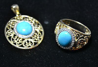 Gold Tone Sterling Silver - Turquoise Ring & Matching Pendant