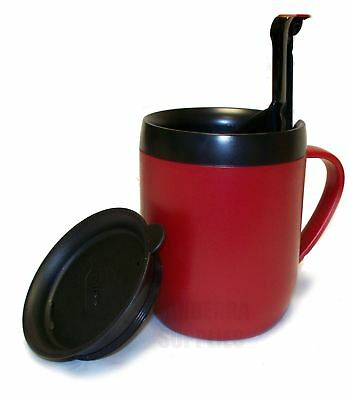 Zyliss Smart Cafe One Cup Coffee Cafetiere Hot Mug With Splash Lid - Red