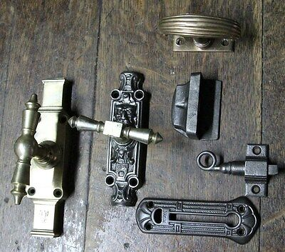 Interesting antique Victorian ?? latch iron brass bronze doors parts