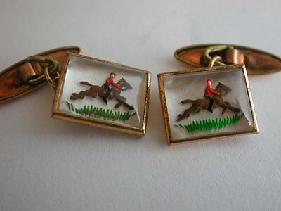 Lovely Antique Gold Capped Cufflinks depicting a JOCKEY on JUMPING HORSE