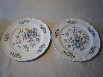Lot of 2 Staffordshire Blue Blossomtime Salad Plates England 1 AS IS Tiny Chip