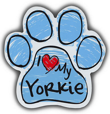 Scribble Paw Dog Magnets: I LOVE MY YORKIE YORKSHIRE TERRIER   For Cars, More