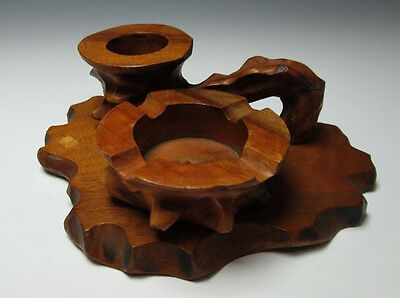 Rare Japanese Antique Good Vintage Wooden Hand Carved Pipe Ashtray Statue