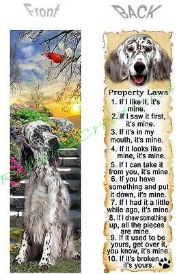 ENGLISH SETTER BOOKMARK Black DOG RULE Property LAWS Book Mark Card ART Figurine