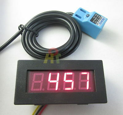 Red 4 Digital LED Tachometer RPM Meter+Waterproof Proximity Switch Sensor NPN