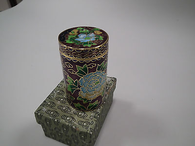 Cloisonne Emaille China Japan Dose Ø ca 4 cm Höhe 7,5 cm brombeere