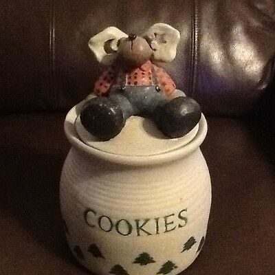 """""""Bear Or Dog Angel"""" COOKIE JAR Canister Gray Green Trees Red Plaid Shirt"""