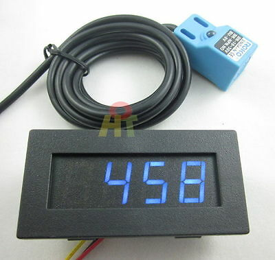 Blue 4 Digital LED Tachometer RPM Meter+Waterproof Proximity Switch Sensor NPN