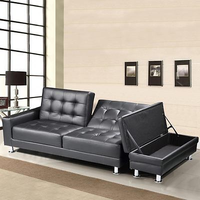 Modern Faux Leather 3 Seater Sofa Bed Storage Ottoman Brown Black Bluetooth Opt