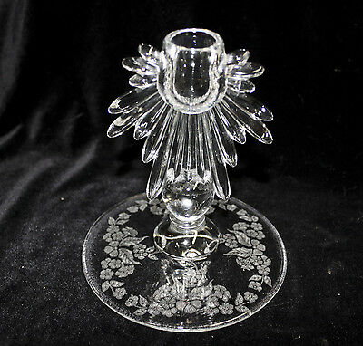 Crystal Teardrop CANDLESTICK Candle by New Martinsville w/ MEADOW WREATH ETCH