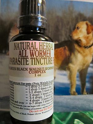 NATURAL HERBAL ALL WORMER AND PARASITE TINCTURE  (PETS)