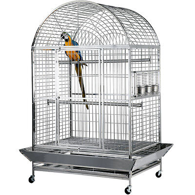 """Large Bird Cage Parrot Cage Stainless Steel Dometop Cage Macaw cockato 44x32x72"""""""