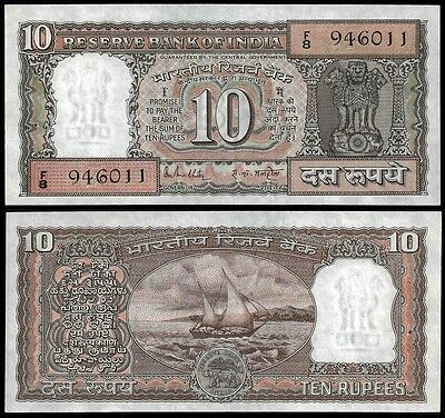 India 10 RUPEES Sign 85 letter F P 60k UNC