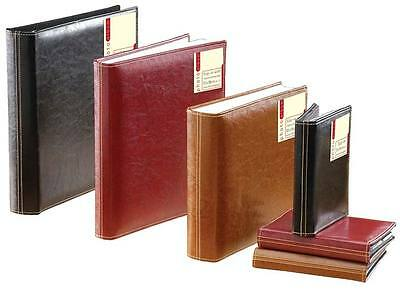 """LEATHER LOOK STITCHED MEMO PHOTO ALBUM HOLDS 80 7"""" x 5"""" PHOTOGRAPHS LGW"""