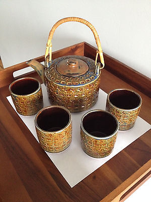 Pier 1 Vintage Stoneware Blue Green And Brown Teapot and 4 cups