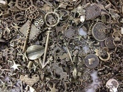 30X Vintage Style Mixed Bronze Tone Pendant Cameo Settings Connector Accessories