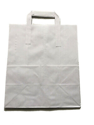 """200 x White Paper Carrier Bags with Flat Handles Large White 11x10x5"""" approx."""